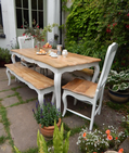 French Style Dining Set with Rattan Back Chairs